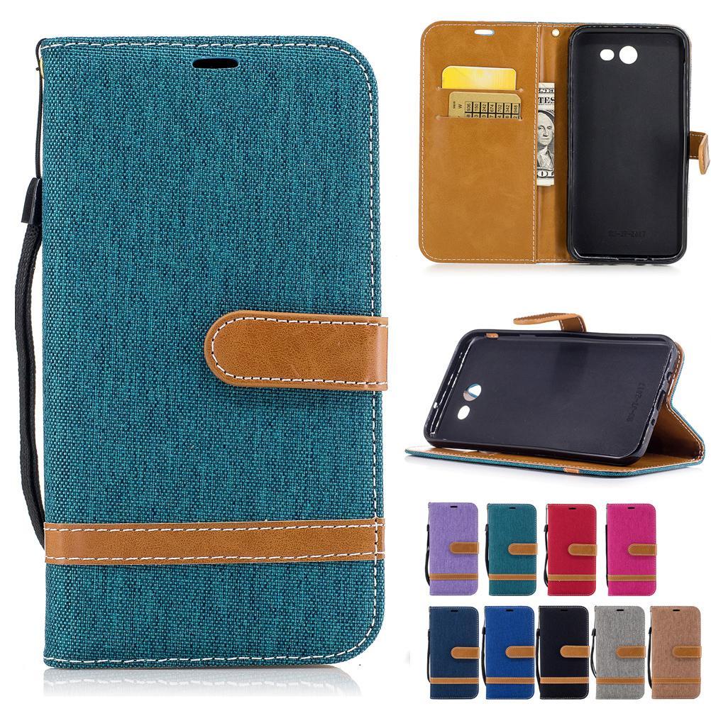 Per Samsung Galaxy J7 2017 GALAXY J720 Custodie in pelle PU copertura del panno del tessuto del cowboy con tasche di carta