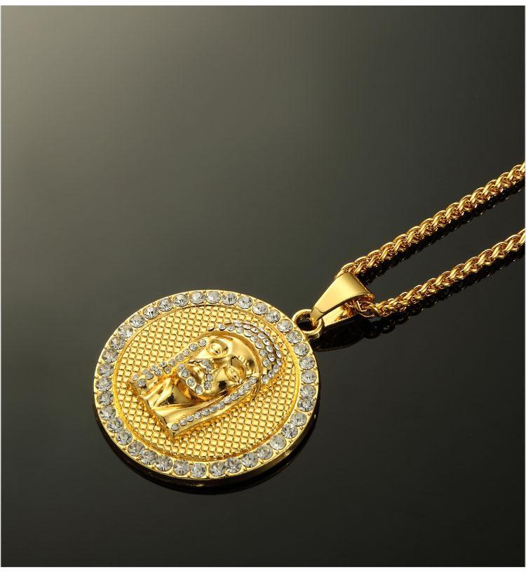08 hip hop jesus round shape pendant necklace