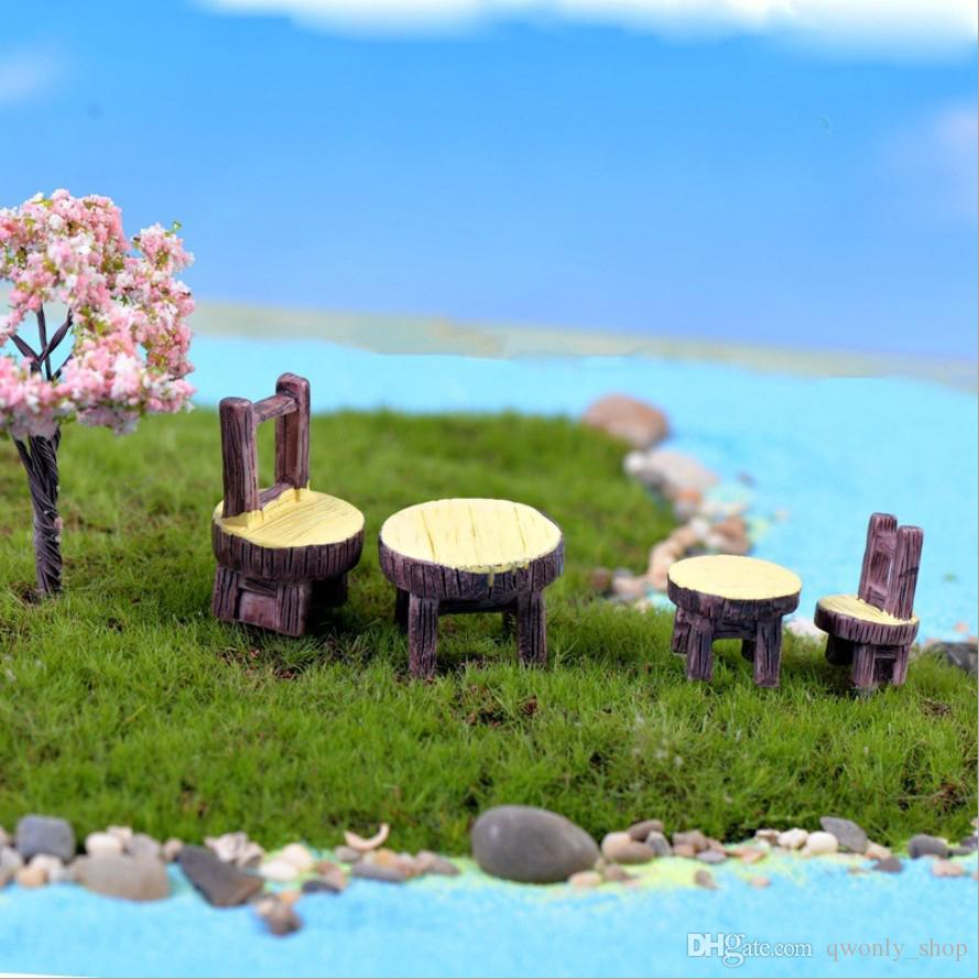 4pcs Vintage Table Chair Fairy Garden Decoration Home Decor Terrarium Figurines Miniatures Baison Tools Resin Craft Gnomes Home Accessories