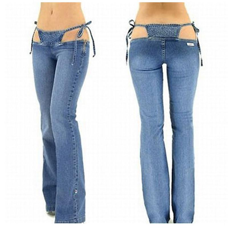 9e7b89129 Wholesale- Sexy Low Rise/waist Jeans Denim Flare Pants Hot Thong in One  Piece Trousers Women Outfit Clothing Club Wear