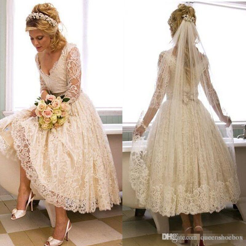 Discount Elegant Tea Length Country Wedding Dresses Vintage Lace V Neck Engagement Dress For Beach Weddings With 4 Long Sleeves Garden Bridal Gown On