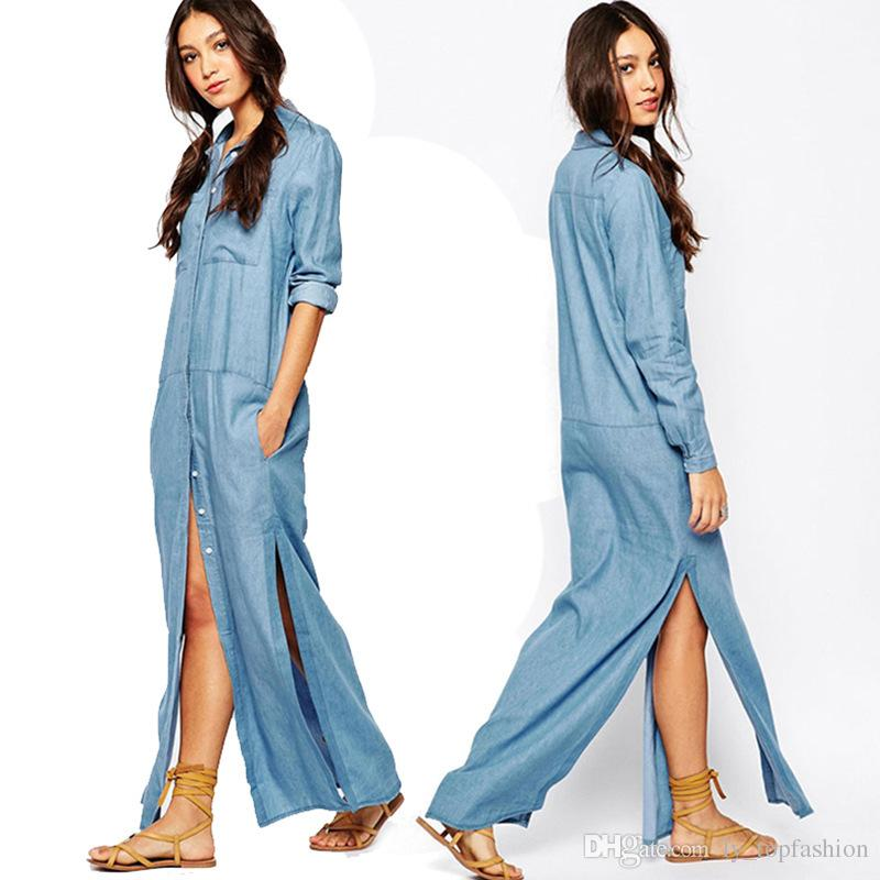 6 Pockets Denim Shirt Dresses Plus Size Button Fly Long Sleeve Washing Jean  Dress 2020 New Arrival Women Maxi Dress M15060201 Dresses For A Party ...