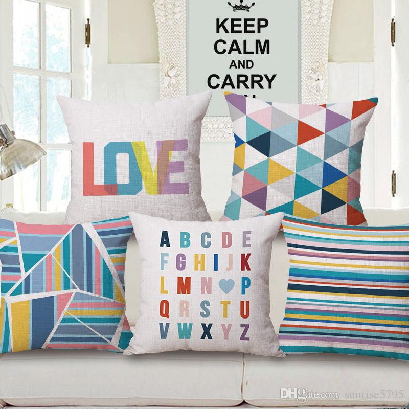 творческие любовные письма чехлы красочные полосы cojines decorativos современные геометрические диван наволочка 45 см almofada home decor