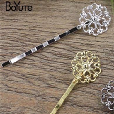 BoYuTe 20Pcs 16*18MM HOT Sale Filigree Flower Hair Barrette 6 Colors Plated Fashion Women Hair Accessories