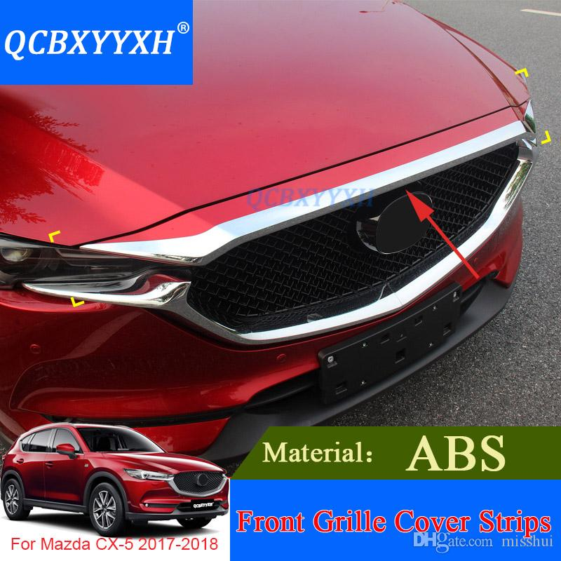 QCBXYYXH Car Styling ABS Chrome 1pcs Front Grille Hood Engine Cover Trim For Mazda CX-5 2017 2018 External Sequins Accessories