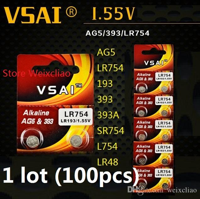 100 قطع 1 وحدة AG5 LR754 193 393 393A SR754 L754 LR48 1.55 فولت بطاريات زر خلية البطارية القلوية عملة vsai مجانية