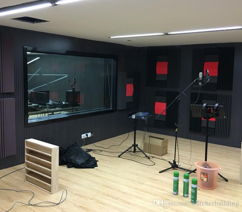 Black color with fireproof soundproof acoustic foam studio foam acoustic absorbersfor Recording Studio Music Rooms 4pcs size 120*30*7.5cm