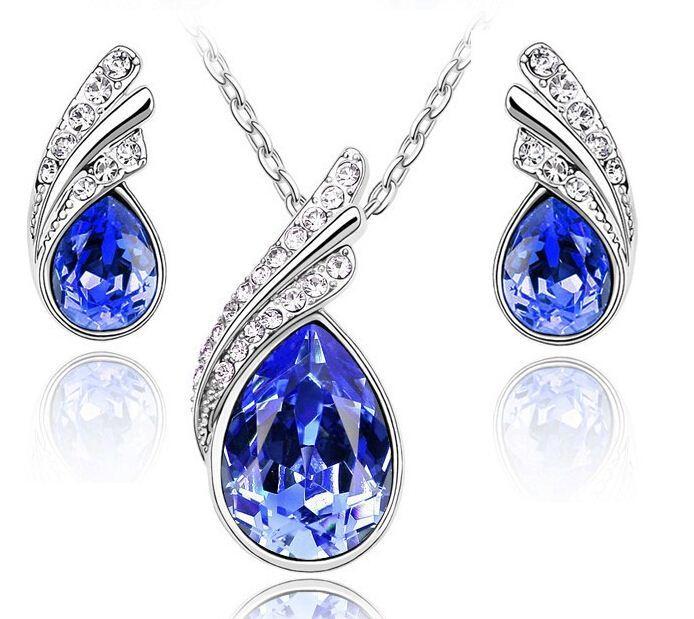 Отбросьте кристалл набор корейских высокого класса комплект ювелирных изделий серьги ожерелье просверлить флэш ювелирные изделия для женщин LM_S022 10colors