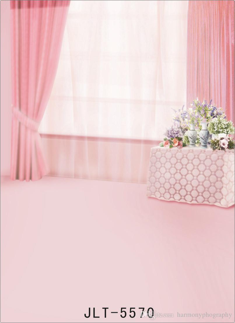 Vinyl Stoff Fotografie Hintergrund indoor rosa Vorhang angepasst Computer gedruckt Foto Hintergrund für Fotoshooting Hochzeit Kinder