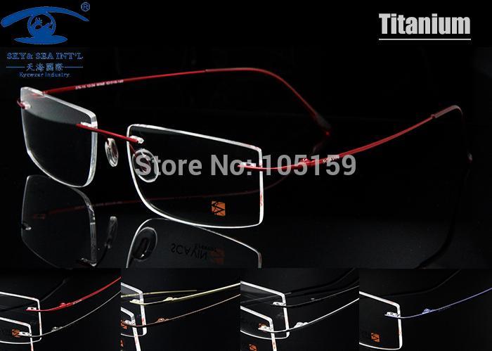 Toptan-Bilgisayar Çerçevesiz Titanyum Gözlük Çerçeve erkekler Bellek Gözlük Çerçeveleri 7 Renk Karşılamak 1.56 1.61 Reçete Gözlük