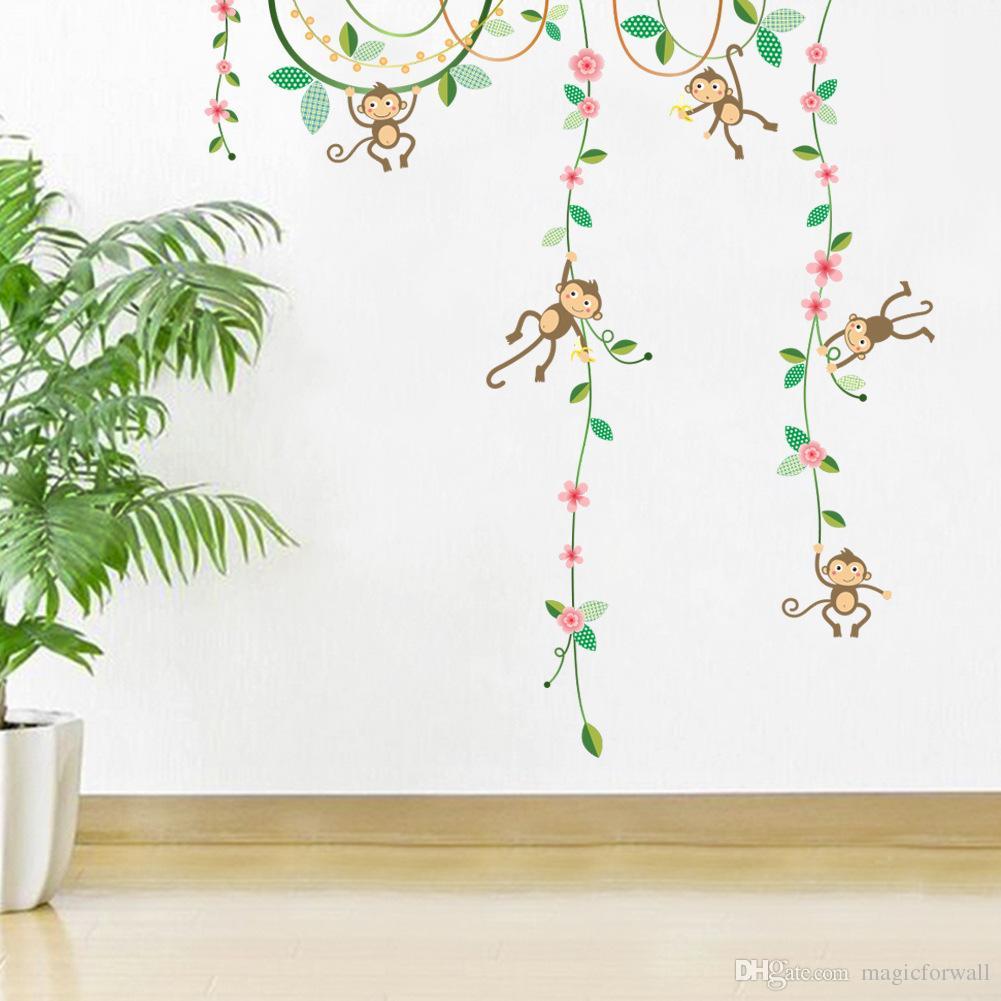 Cartoon Monkey Climbing Flower Vine Wall Decals Kids Room Nursery Wall Decor Wallpaper Poster Boys Girls Room Infant Wall Stickers