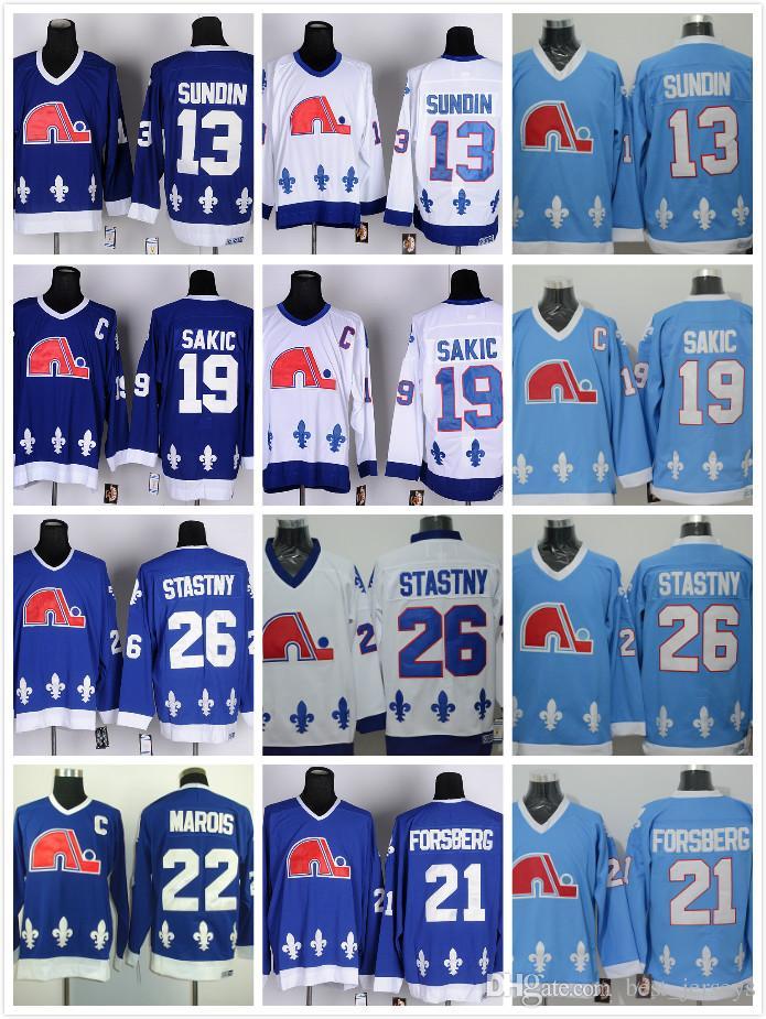 Cordón NHL Quebec Nordiques # 19 Joe Sakic 21 Forsberg 26 Stastny 13 Sundin 22 Marois Blanco Azul barato Hockey CCM Vintage Jerseys