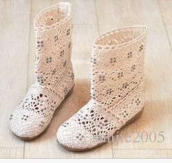Classique Printemps Été filles respirante BOTTES Découpes Chaussures Mode creux Ligne tricotées Bottes Filles Gaze courtes Bottes enfants