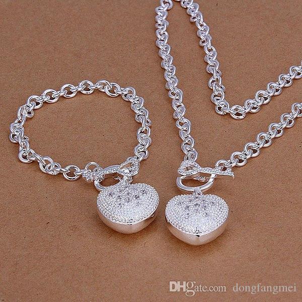 top sales women's sterling silver plated jewelry set DMSS025,High grade 925 silver plate neckace bracele set