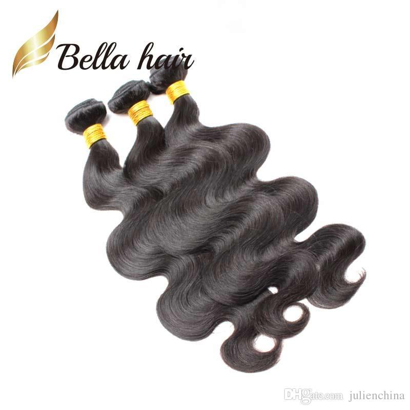 Bella Hair® 9a Rainha qualidade 100% peruana extensão de cabelo humano cor de cor natural corporal onda de cabelo 10 ~ 24 polegadas pêlos tecidos