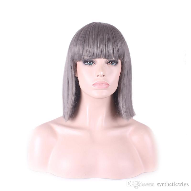 Woodfestival 어깨 길이 헤어 스타일 가발 여성을위한 파란색 스트레이트 가발 합성 섬유 머리카락 장미 컴포트 헤어 넷 35cm