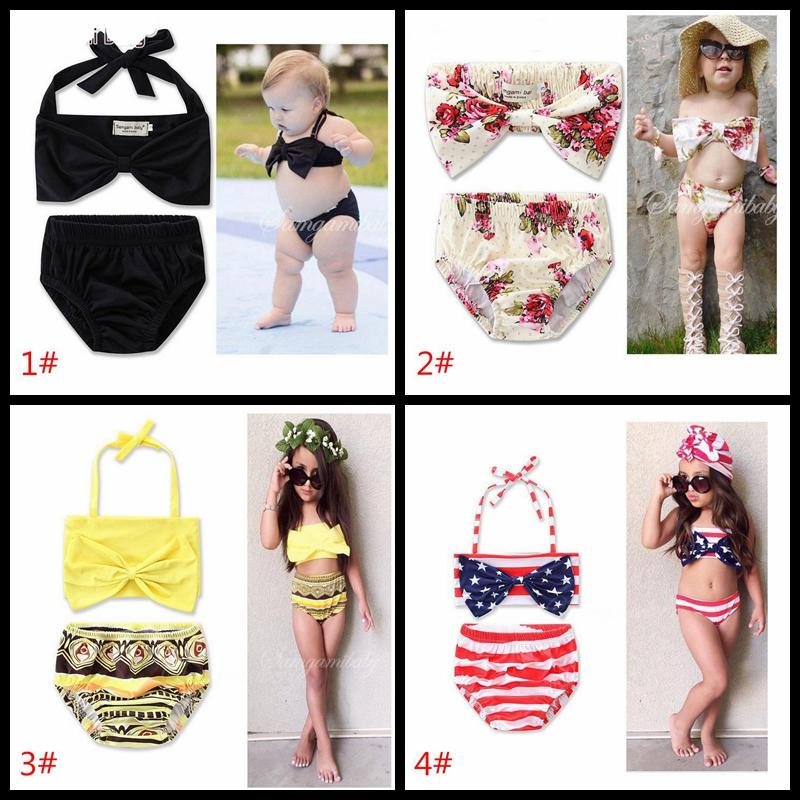 Cute Baby Bikini Big Bowknot Stripe 2 Pieces Skirt Swimwear Sets INS hot sell baby girls bath 11 styles factory price girl's beachwear