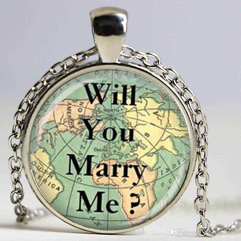 Amo colar mapa jóias colar de viagem você vai casar comigo colar de pingente de cúpula de vidro