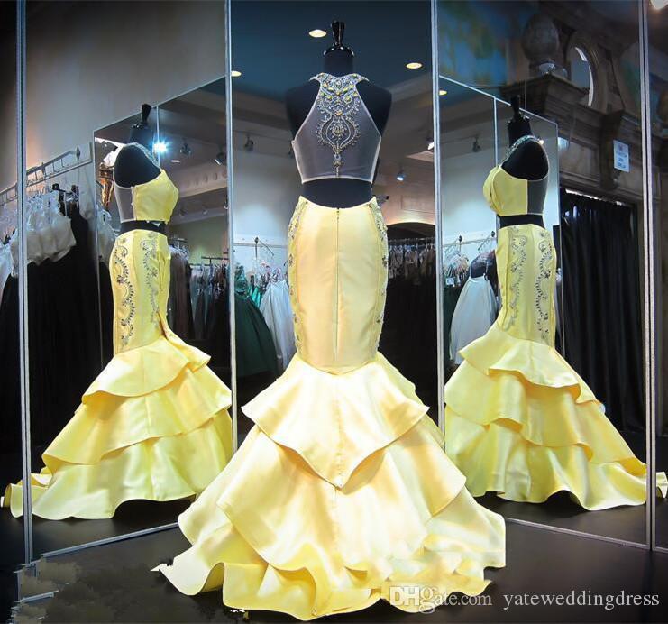 Abiti da sera in raso giallo chiaro stile sirena Due pezzi abiti da promenade gioiello con applicazioni di perline party con perline trasparenti in rilievo
