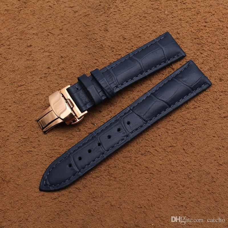 Neue Ankunft Spezielle Design Nähte Vintage Echtes Leder Armband Kalbsleder Uhrenarmbänder dunkelblau 20mm Roségold Schnalle Heißes freies Schiff