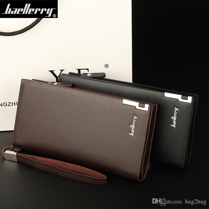 Fashion Designer Brand Men Wallets Long Zipper Wallet Men 2019 PU Leather Coin