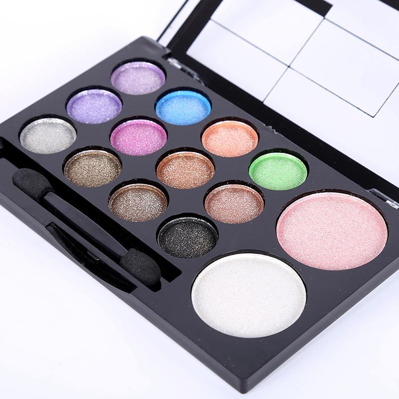 Toptan-Suya Dayanıklı Glitter Dumanlı Göz farı Allık Makyaj Paleti Pudra Seti 14 Renk