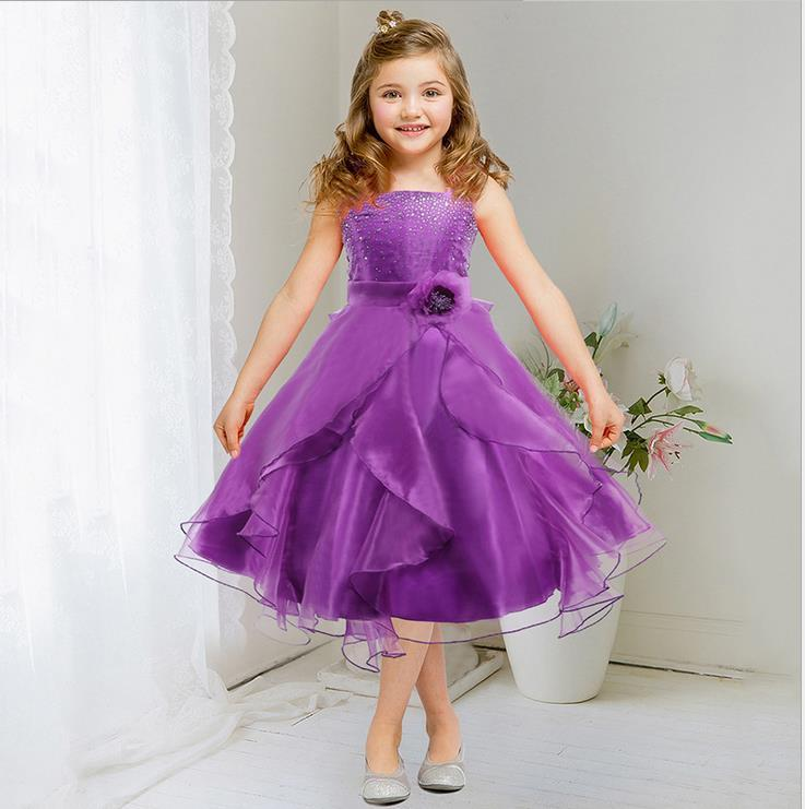Kids Girls Flower Sequins Formal Party Ball Gown Prom Pageant ...