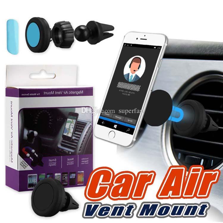 Titulaire magnétique de support de voiture de support de voiture de voiture pour l'iPhone 8 téléphones portables de la galaxie S8 Roulement de 360 degrés de voiture d'évent de voiture dans la boîte au détail