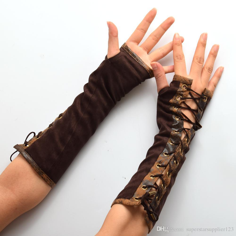 1pair Women Steampunk Lolita Armbands HAND CUFF Vintage Victorian Tie-Up Brown Mittens Gloves Cosplay Accessories New