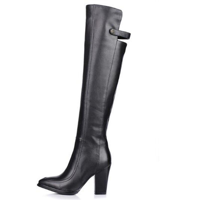 Europe style big size women genuine leather sude female boots thick with knights of high-heeled boots belt buckle pure color women's shoes