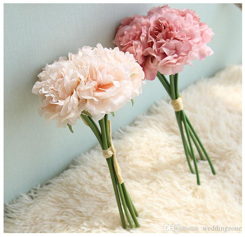 Hand bouquet 26 cm/10 inch Artificial Subshrubby peony flower Silk Flower For Party Home Decoration Wedding