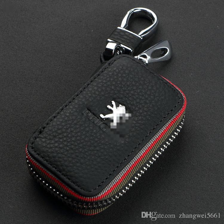 Clave nueva caja del coche premium Cadenas de cuero con soporte remoto Zipper la cartera cubierta de la bolsa de accesorios para Ford Peugeot Citroen Auto