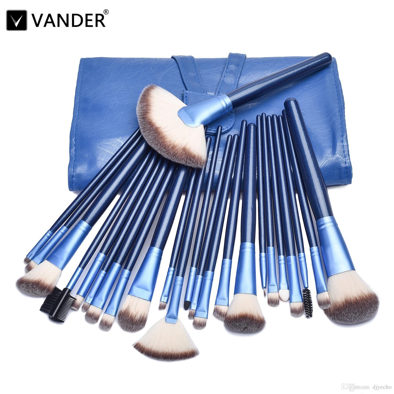 Vander 24 adet Lüks Makyaj Fırça Seti + Kozmetik Fırça Çanta için Göz Farı Karıştırma Pudra Fondöten Kaş Kozmetik Aracı Kitleri