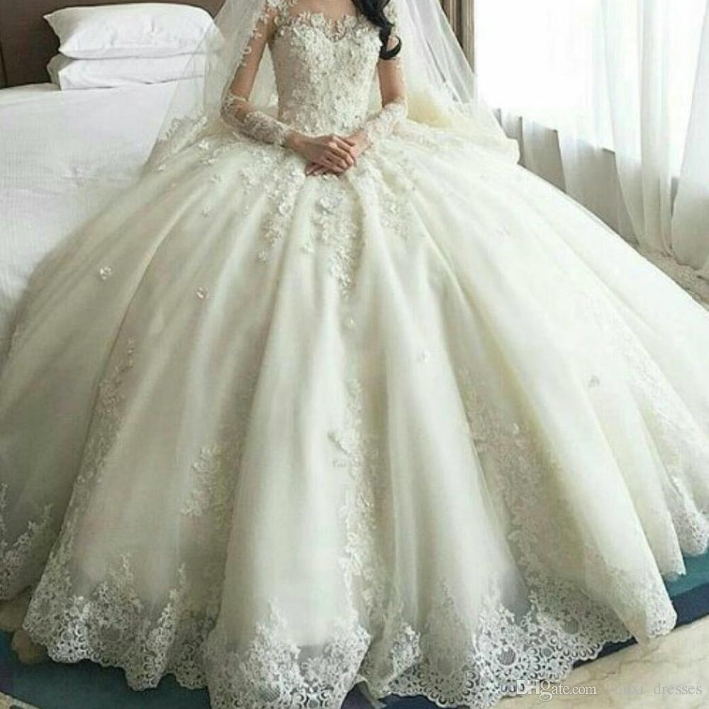 Vestido де noiva горячей продажи на заказ V шеи кружева аппликации бальное платье Свадебные платья 2017 с длинными рукавами свадебное платье свадебное платье