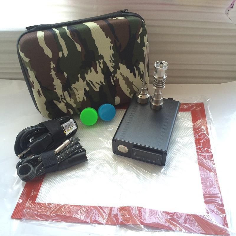 Barato Portátil E Dab Vaporizador Dab eléctrico Clavo de hierba Cera de hierba Pen TC PID Caja digital para dabbing E cuarzo domelss Clavos de titanio