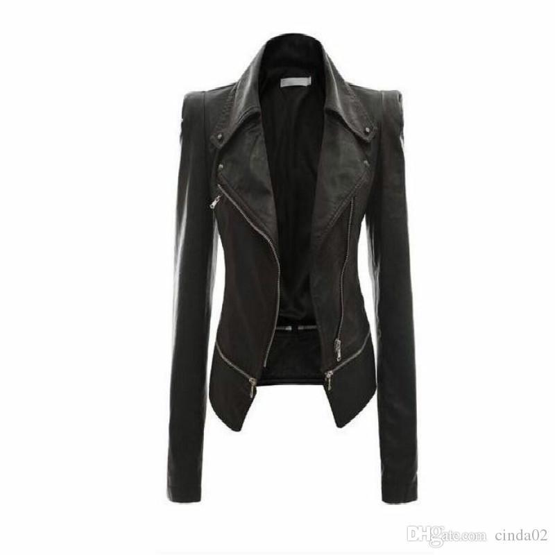 Toptan-Kadın Deri Ceket Perçin Fermuar Motosiklet Ceket Turn Down Yaka chaquetas mujer Argyle desen Deri Ceket S-3XL