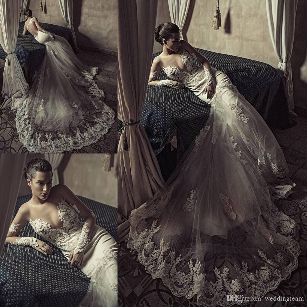 Spitze Meerjungfrau Brautkleider mit langen Ärmeln Sheer Bateau v Ausschnitt Backless Brautkleider Tüll Chapel Zug Perlen Hochzeitskleid