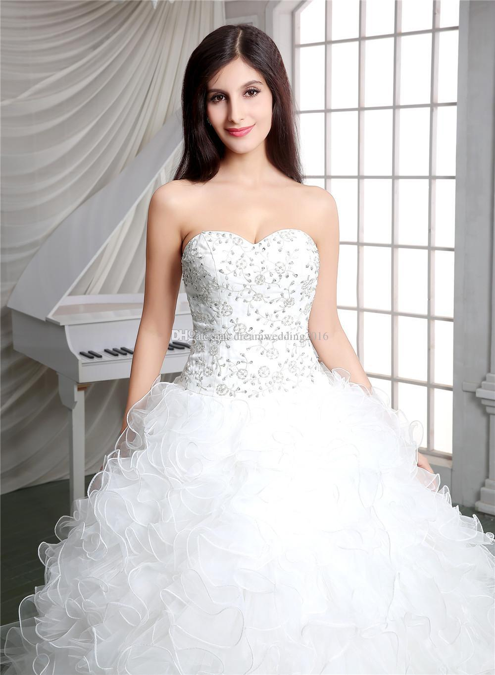 Real Pictures 2017 White Ball Gown Church Designer Wedding Dresses ...