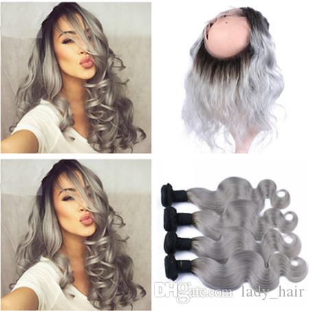 Virgin Peruvian Silver Grey Ombre Human Hair Bundles 4Pcs With Body Wave T1B/Grey Ombre 13x4 Full Lace Frontal Closure 5Pcs Lot