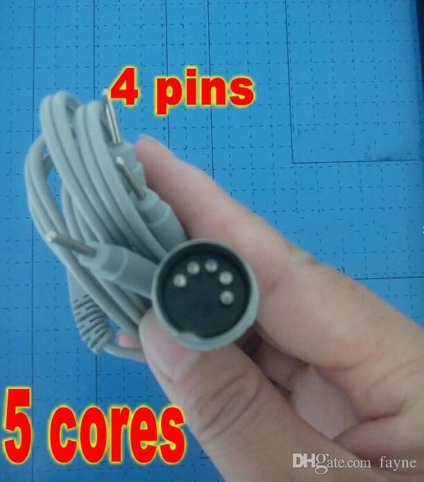 100 pcs électrodes plomb fils D5P Plug 4 broches câbles de connexion pour Digital Massage TENS EMS machine