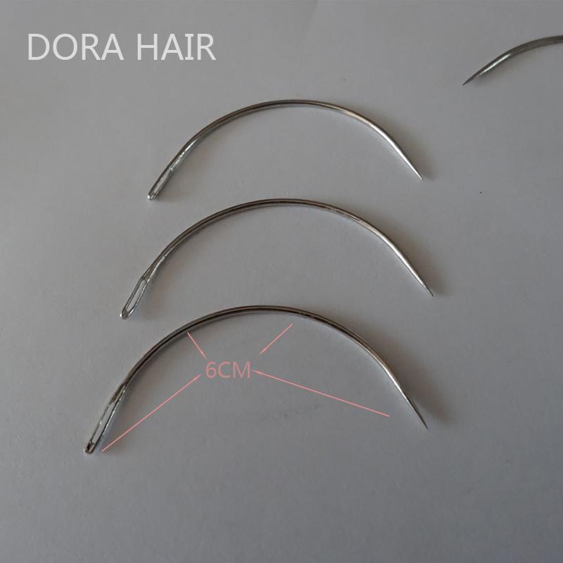 İnsan Saç Uzatma Atkı Dokuma Toptan-1 torba 144pcs 6CM C Şekil Kavisli İğneler Threader Dikiş / Dokuma İğneler