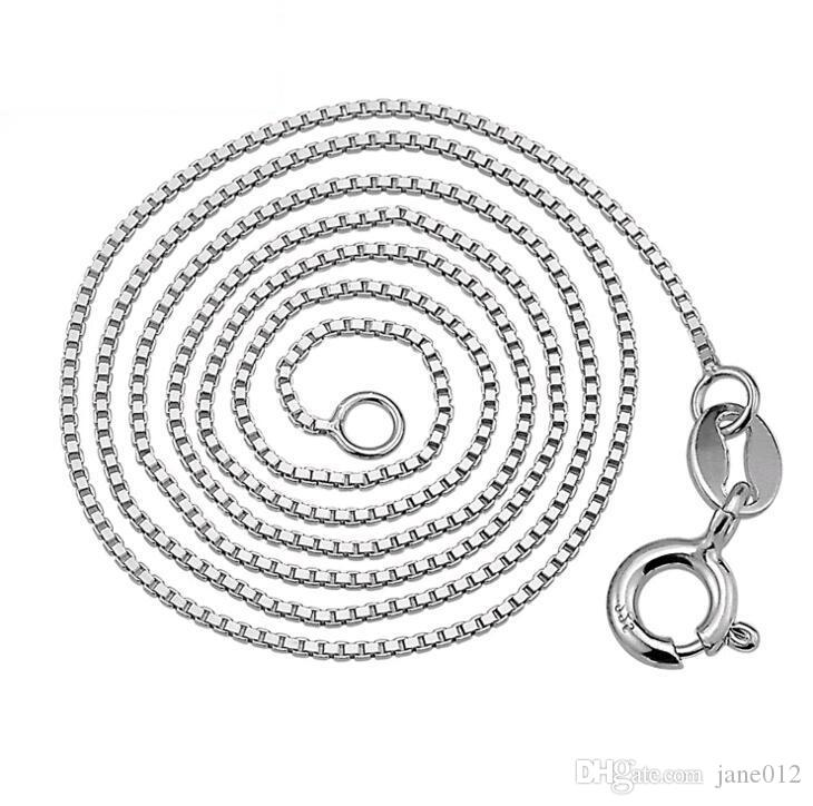 0.8mm 10pcs 925 Solid Sterling Silver Chain 16inch 18inch Box Chain Necklace Jewelry Accessories YL01004