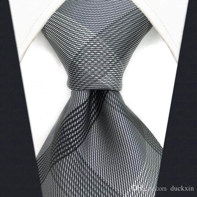 S1 는 길쌈한 까만 진한 회색 Plaids 남자 동점 넥타이 여분 긴 크기 유행 100%실크 자카드 직물을 검사했습니다