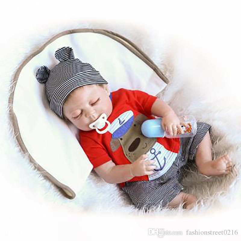 22 Inch Soft Silicone Vinyl Reborn Baby Dolls Boy Lifelike Newborn Partner Toy