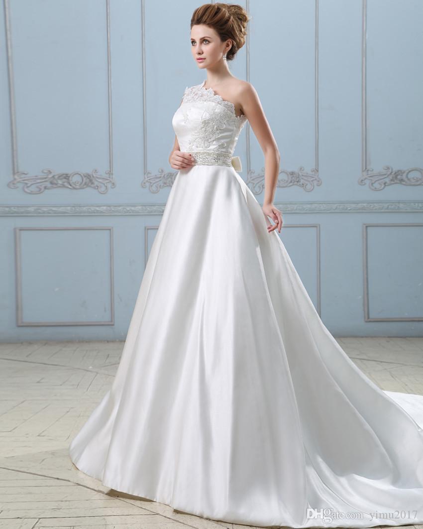Venta al por mayor Vestidos de novia elegantes del vestido de bola ...