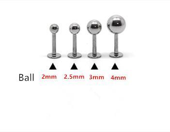 16G Dudak yüzük Labret piercing Topu Düz 316L cerrahi çelik moda Vücut piercing Takı 100 adet / grup 2mm 2.5mm 3mm 4mm Kulak Tragus Pin Kadınlar