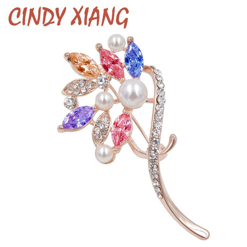 CINDY XIANG New Zircon Flower Brooches for Women Wedding Dress Brooch Pin Bijouterie Exquisite Jewelry Luxury Accessories Gift