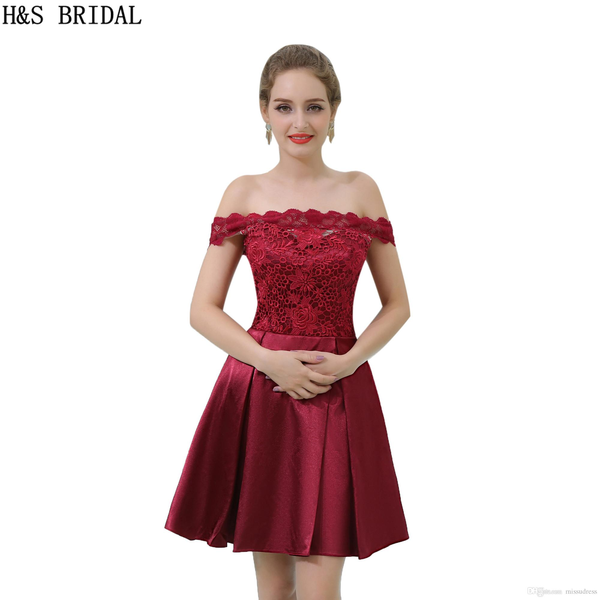 Real Sample Short Cheap Bridesmaid Dresses Burgundy Lace Top Off The Shoulder Party Gowns 2017 B055
