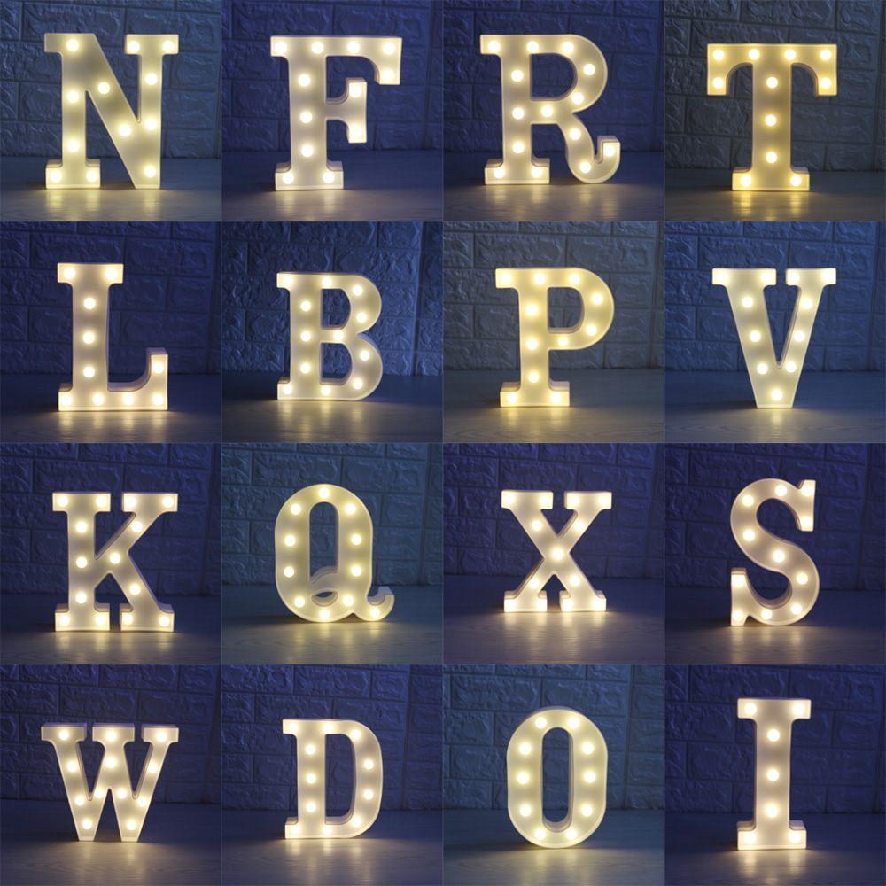 3D-LED-Nachtlampe 26 Buchstaben weiße LEDs Nächte Lichter Marquee Zeichen Alphabet-Lampen für Geburtstag Hochzeits-Party-Schlafzimmer-Wand-hängendes Dekor S025m