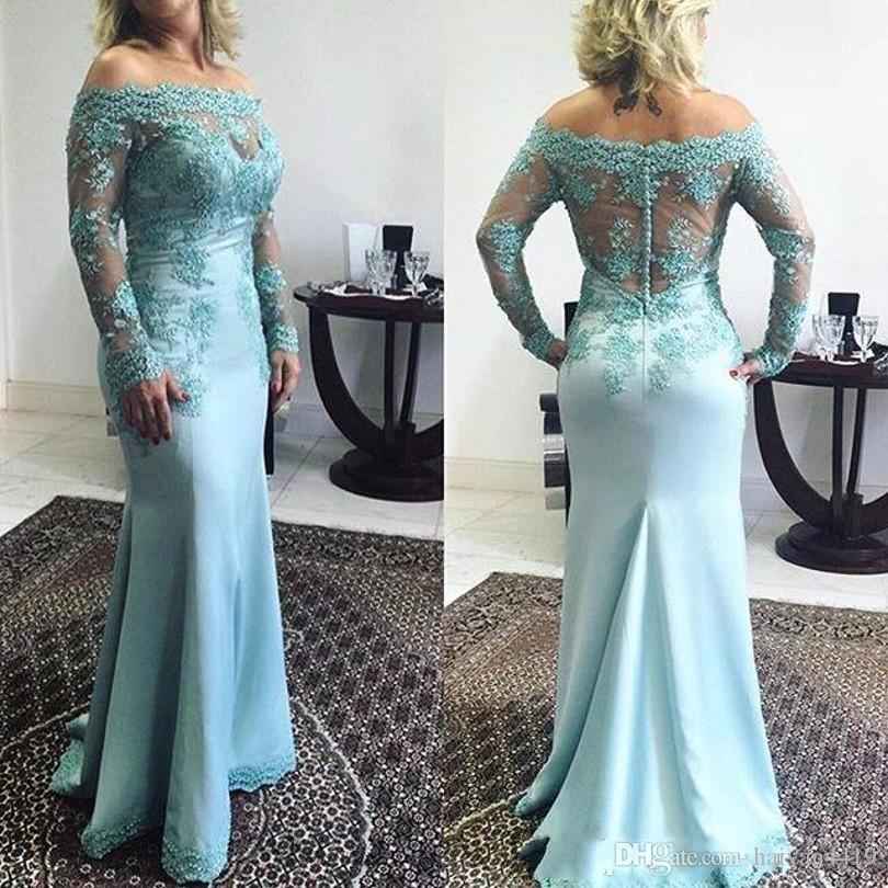 2017 New Turquoise Mother Of The Bride Dresses Off Shoulder Lace Appliques Long Sleeves Mermaid Plus Size Party Dress Wedding Guest Gowns
